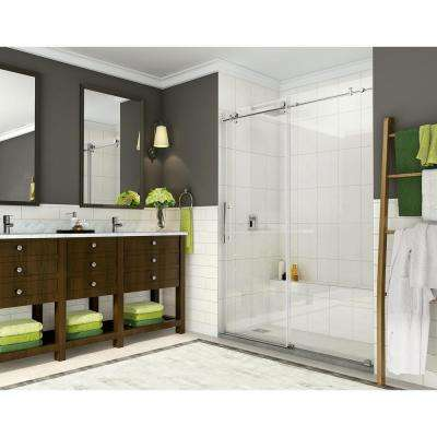 Coraline 56 - 60 in. x 76 in. Completely Frameless Sliding Shower Door in Polished Chrome
