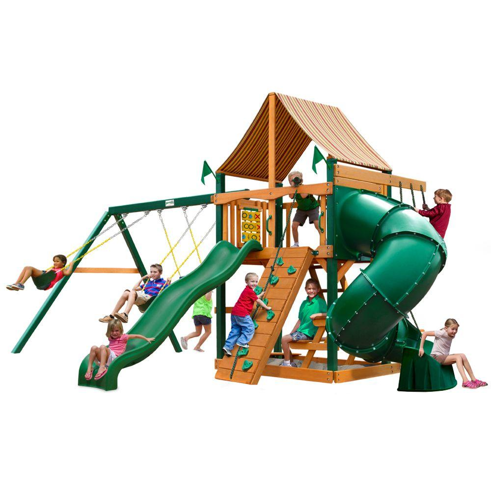 Gorilla Playsets Mountaineer with Timber Shield and Sunbrella Weston Ginger Canopy Cedar Playset