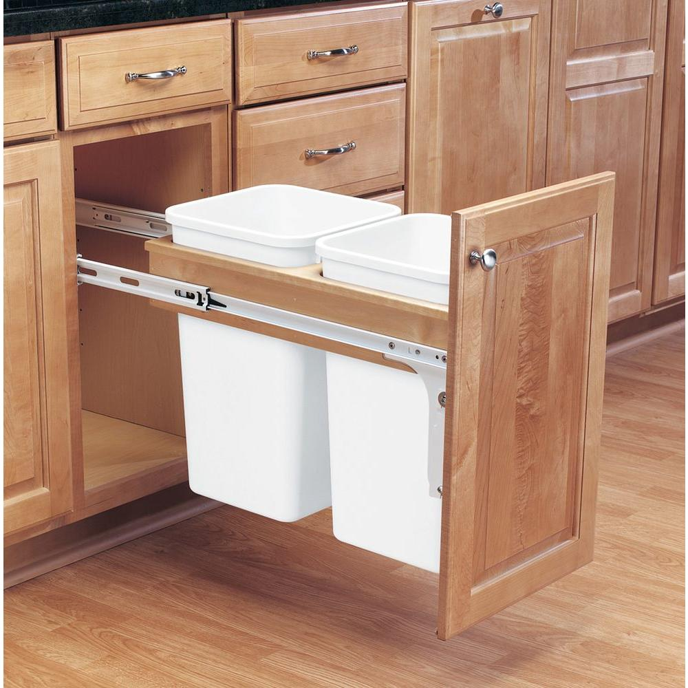 White - Pull Out Trash Cans - Kitchen Cabinet Organizers - The Home ...