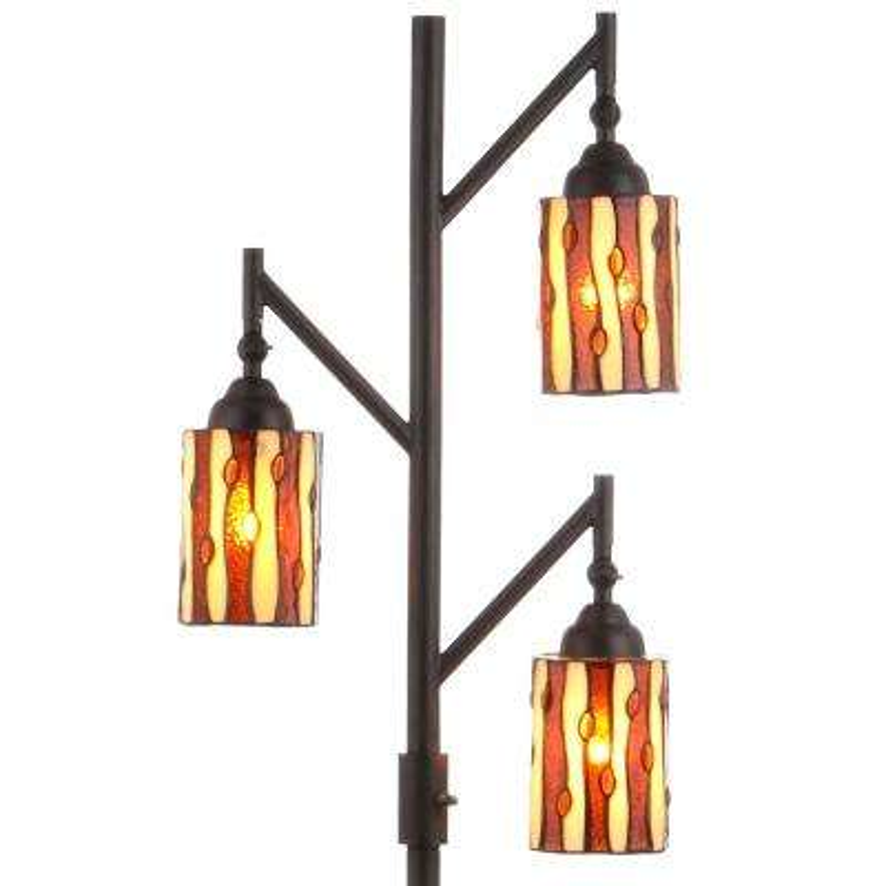 Clark Tiffany-Style 71 in. Multi-Light Bronze Floor Lamp