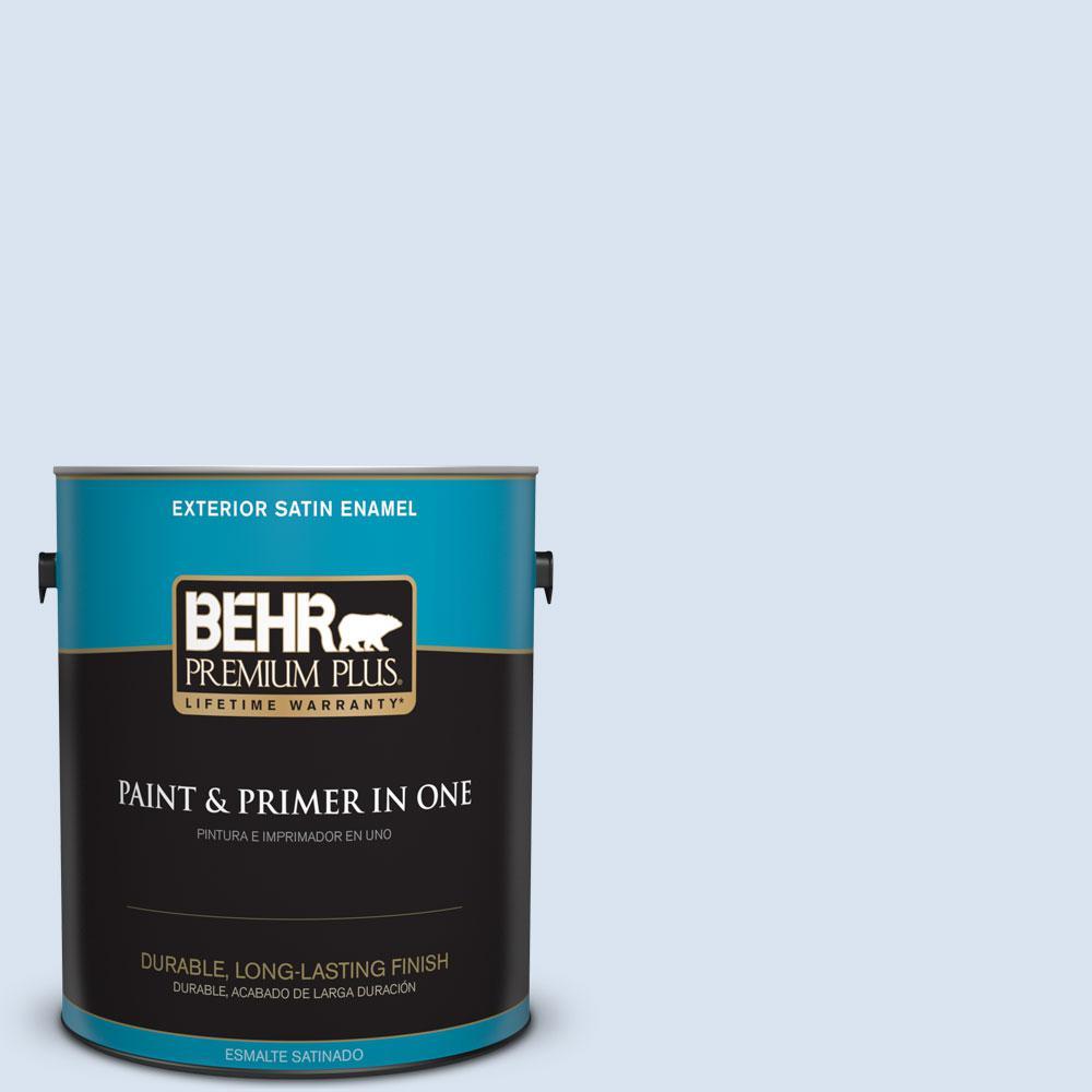 BEHR Premium Plus 1-gal. #590C-2 Ocean Air Satin Enamel Exterior Paint
