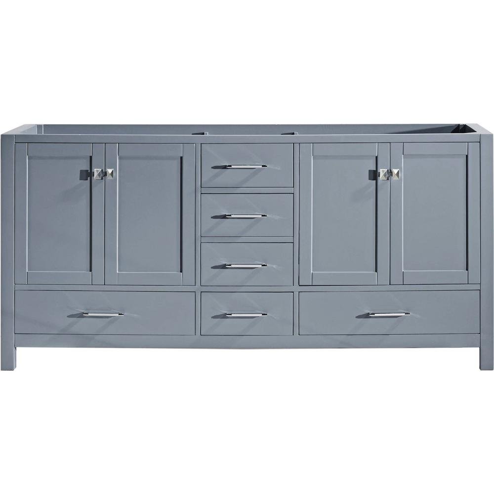 Virtu USA Caroline Avenue 72 In. W X 22 In. D Vanity Cabinet Only In  Grey GD 50072 CAB GR   The Home Depot