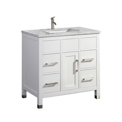 Reisa 36 in. W x 22 in. D x 36 in. H Bath Vanity in White with Grey/White Carrara Marble Vanity Top with White Basin