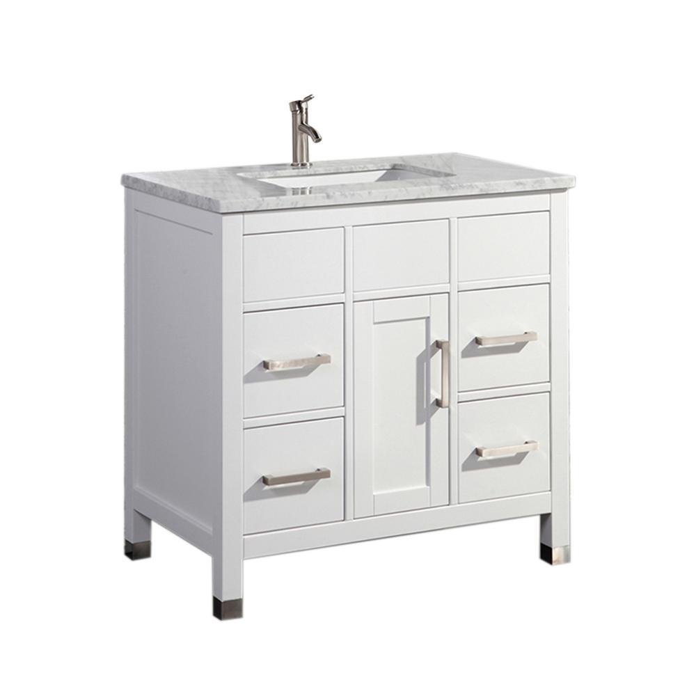 Reisa 36 in. W x 22 in. D x 36 in. H Vanity in White with Marble Vanity Top in White with White Basin