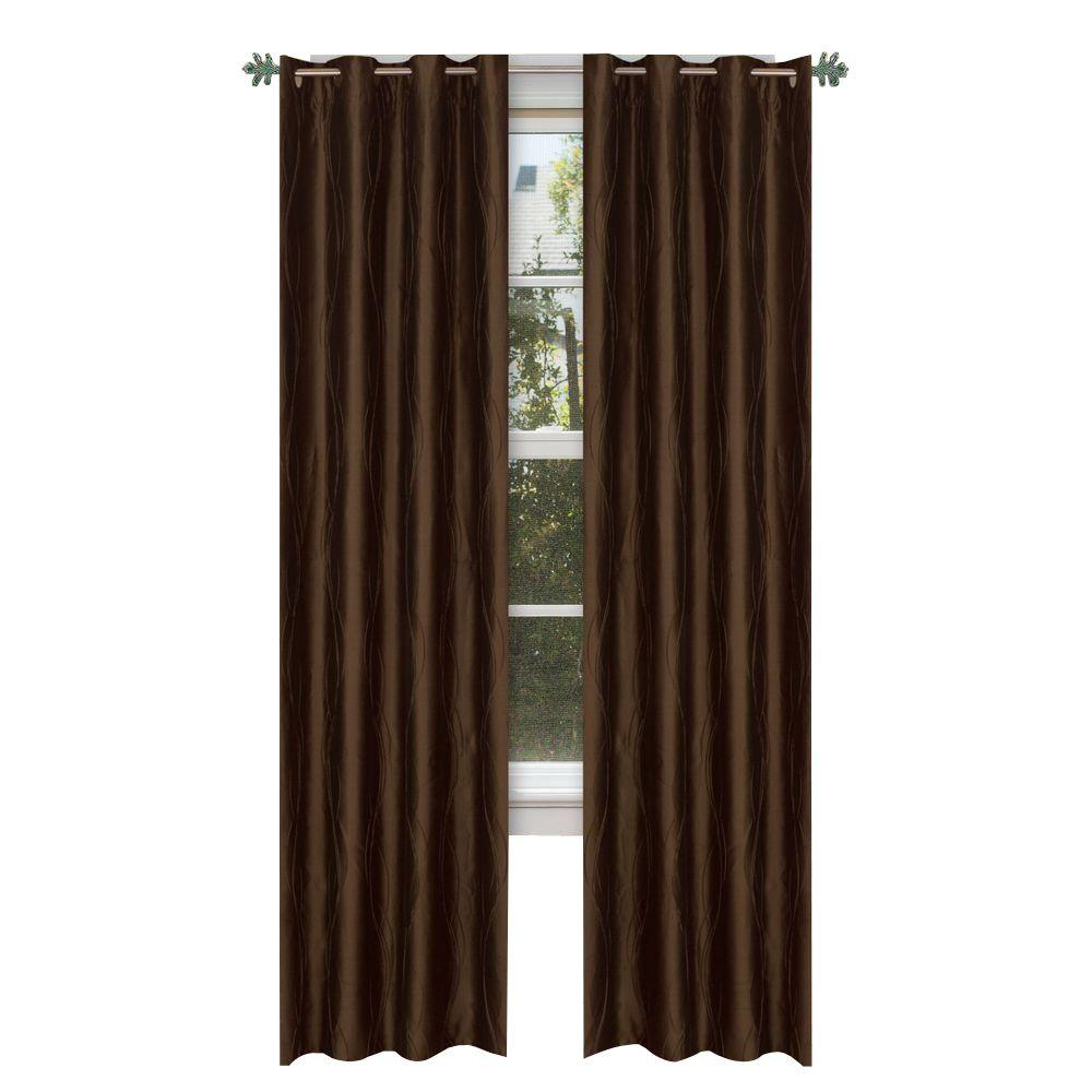 Lavish Home Taupe Polyester Grommet Curtain - 56 in. W x 84 in. L (1 Pair)