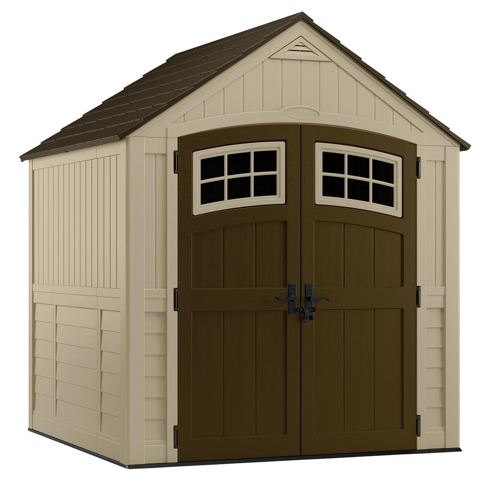 suncast sutton 7 ft 3 in x 7 ft 45 in resin storage shed bms7791 the home depot - Garden Sheds 7x7