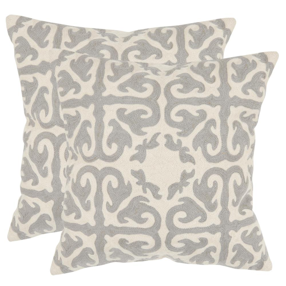 Safavieh Safavieh Moroccan Chainstitch Pillow (2-Pack), Light Grey