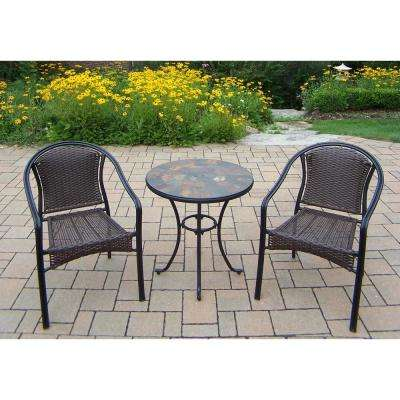Stone Art Swivel 3-Piece Wicker Outdoor Bistro Set