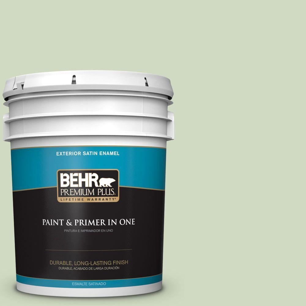 BEHR Premium Plus 5-gal. #M380-2 Glade Green Satin Enamel Exterior Paint