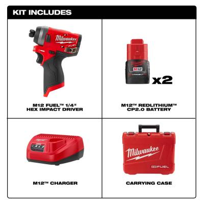 M12 FUEL 12-Volt Lithium-Ion Brushless Cordless 1/4 in. Hex Impact Driver Kit w/Two 2.0Ah Batteries, Charger&Hard Case