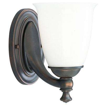Victorian Collection 1-Light Venetian Bronze Bath Sconce with White Opal Glass Shade