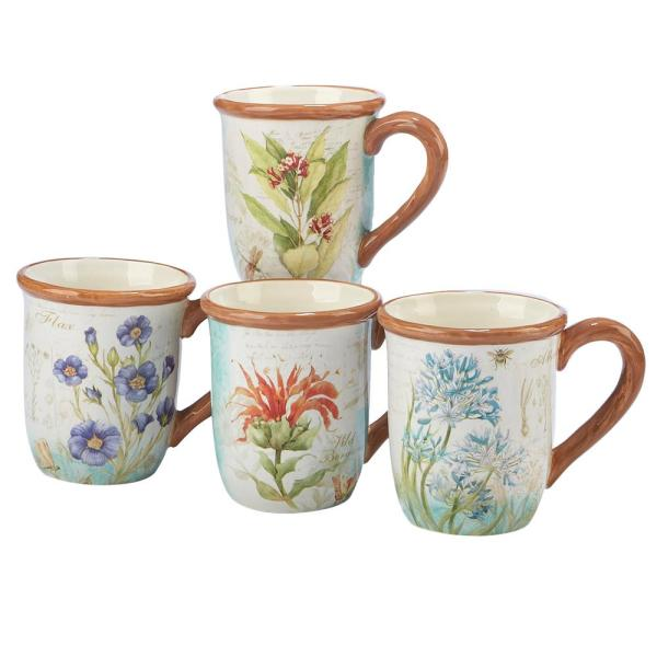 Certified International Herb Blossoms 4-Piece Multi-Colored 18 oz. Mug Set