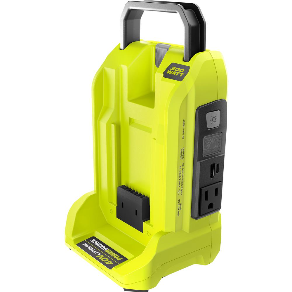 RYOBI 300-Watt 40-Volt Battery Powered Inverter Generator