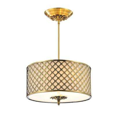 Gloria 3-Light French Gold Chandelier with Beige Shade