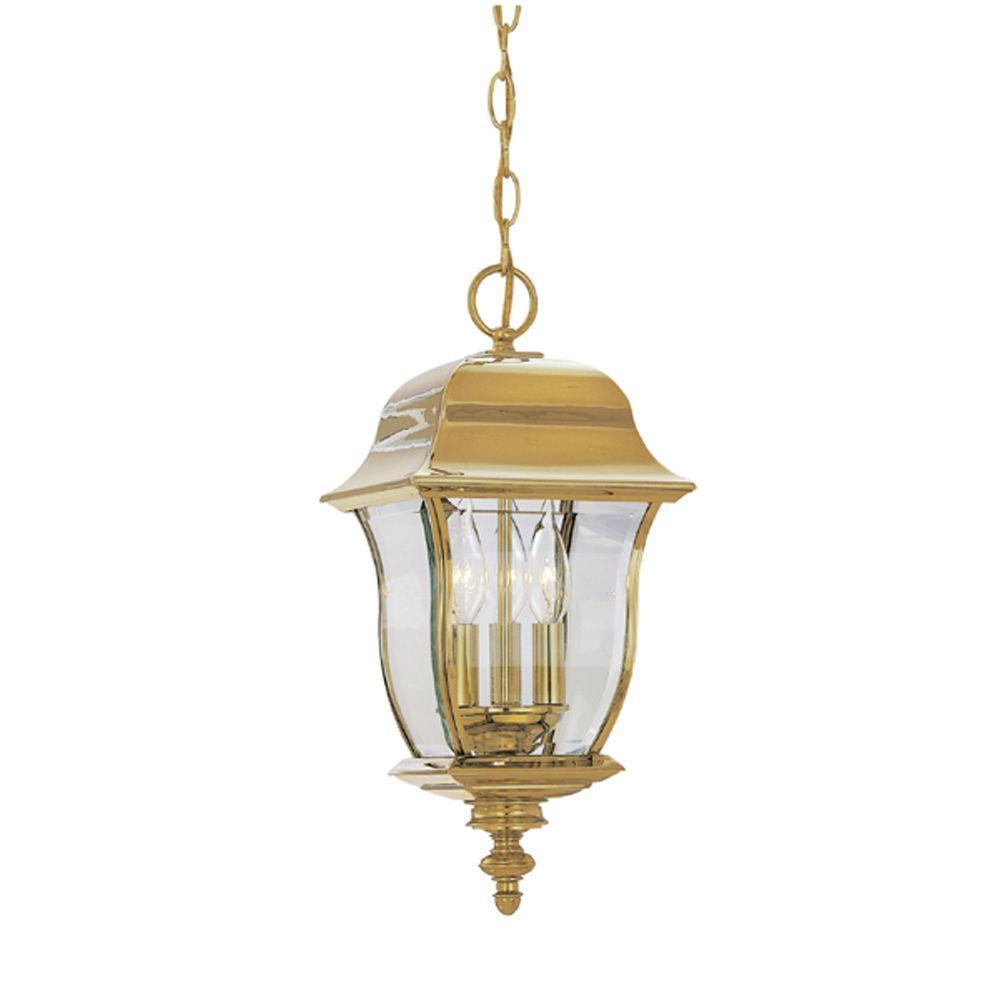 Designers Fountain Oak Harbor Polished Brass 3 Light Outdoor Hanging Lamp