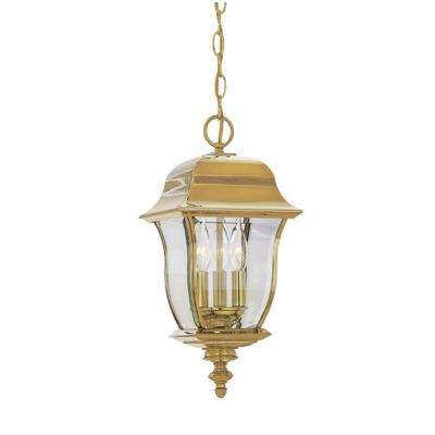 Oak Harbor Polished Brass 3-Light Outdoor Hanging Lamp