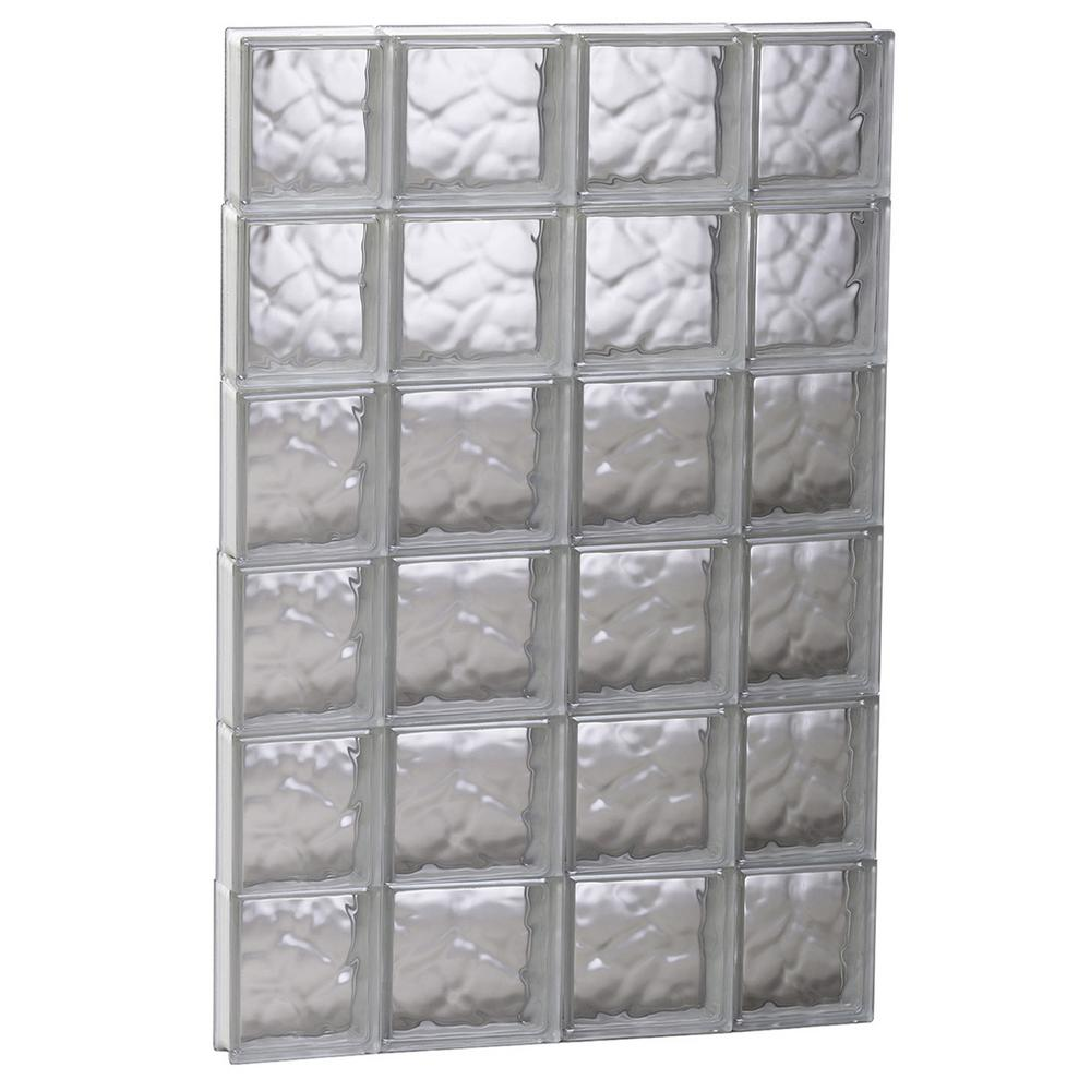 Clearly secure 27 in x 46 5 in x in wave pattern for Where to buy glass block windows