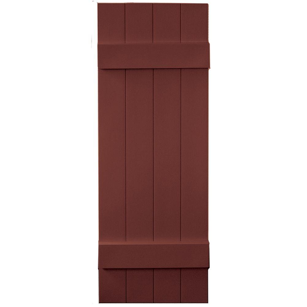 Builders Edge 14 in. x 43 in. Board-N-Batten Shutters Pair, 4 Boards Joined #027 Burgundy Red