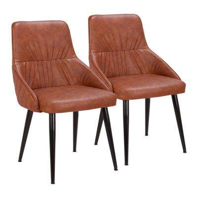 Alden Brown Faux Leather Dining Chair (Set of 2)