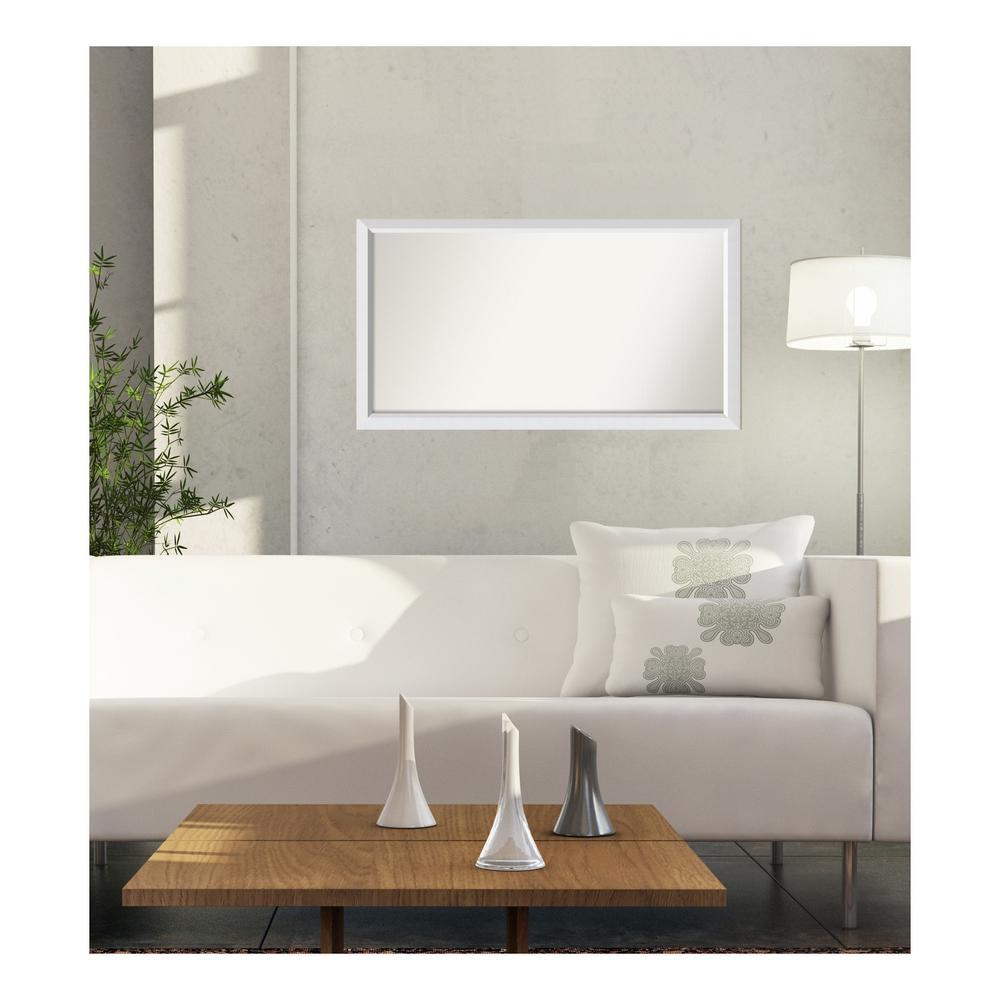 30 in. x 54 in. Blanco White Wood Framed Mirror
