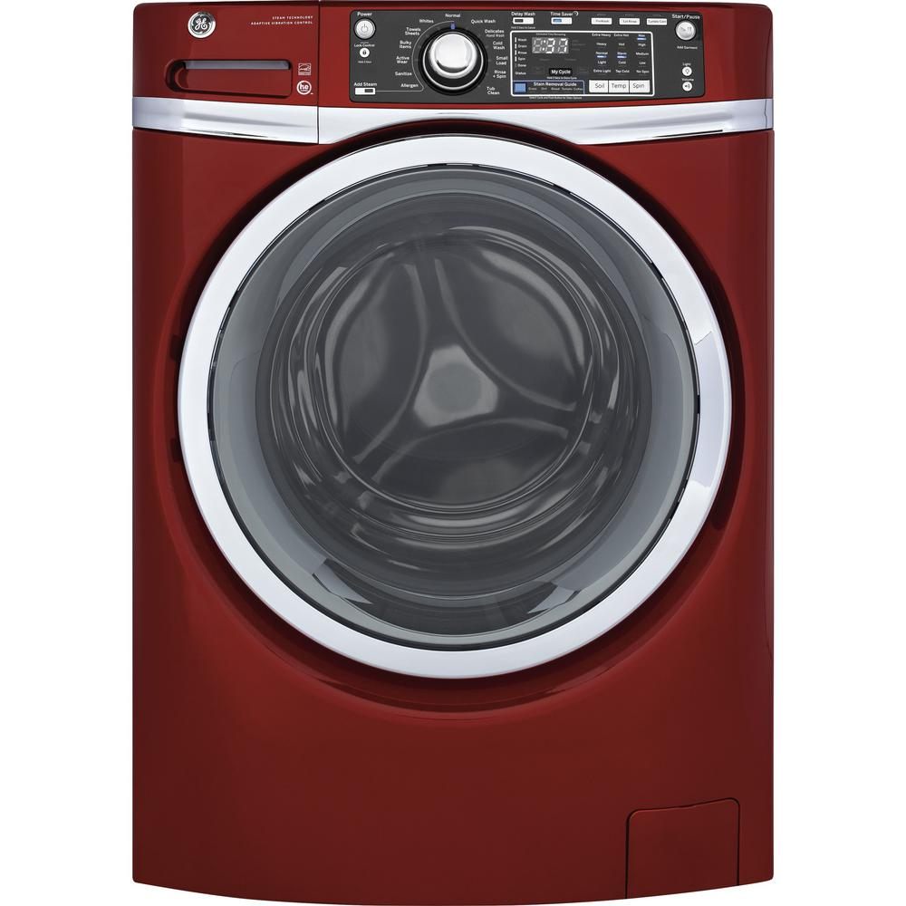 Ge 4 9 Cu Ft High Efficiency Stackable Ruby Red Front Loading Washing Machine