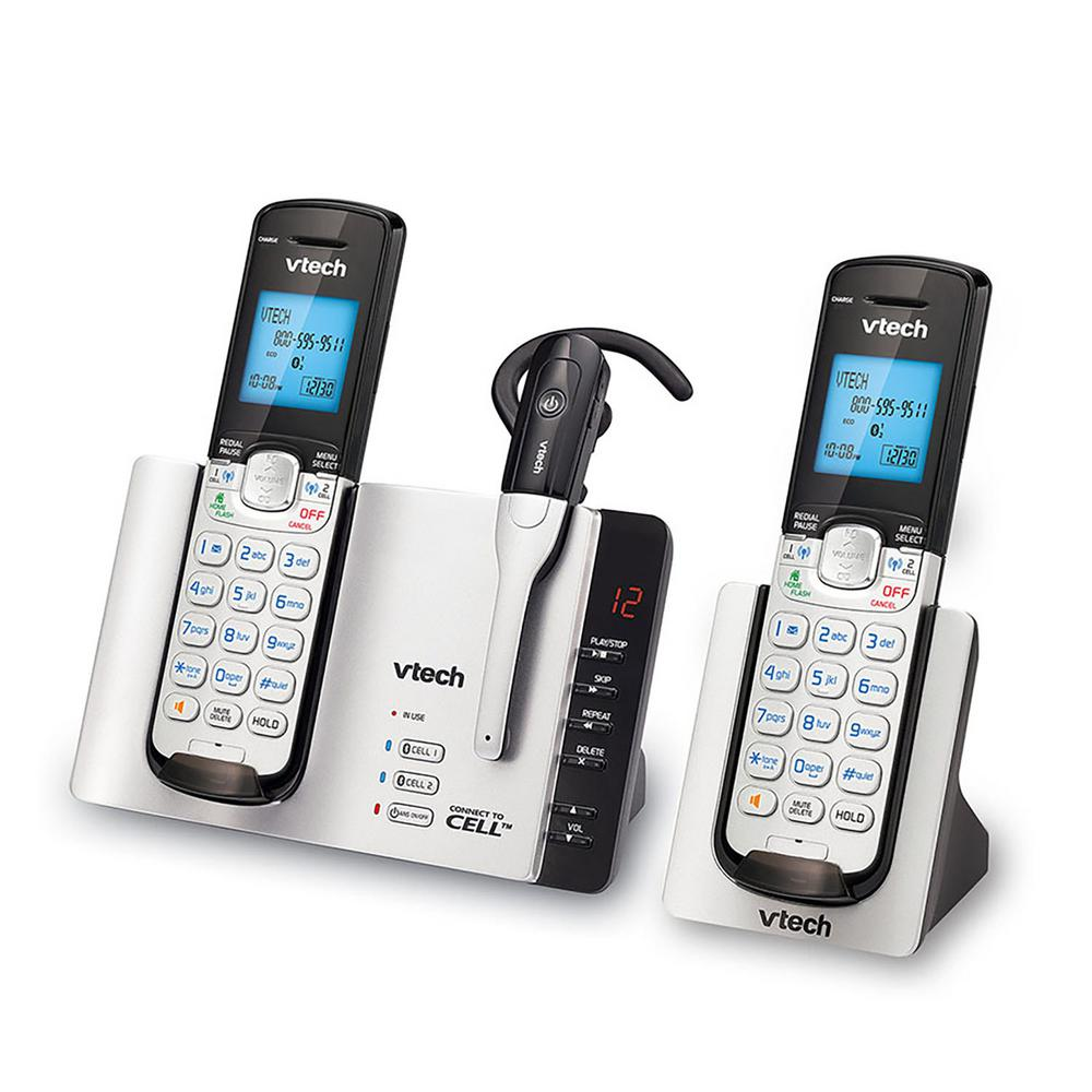 At And T 2 Handset And 1 Cordless Headset Expandable Cordless Phone With Connect To Cell And Answering System Ds6771 3 The Home Depot