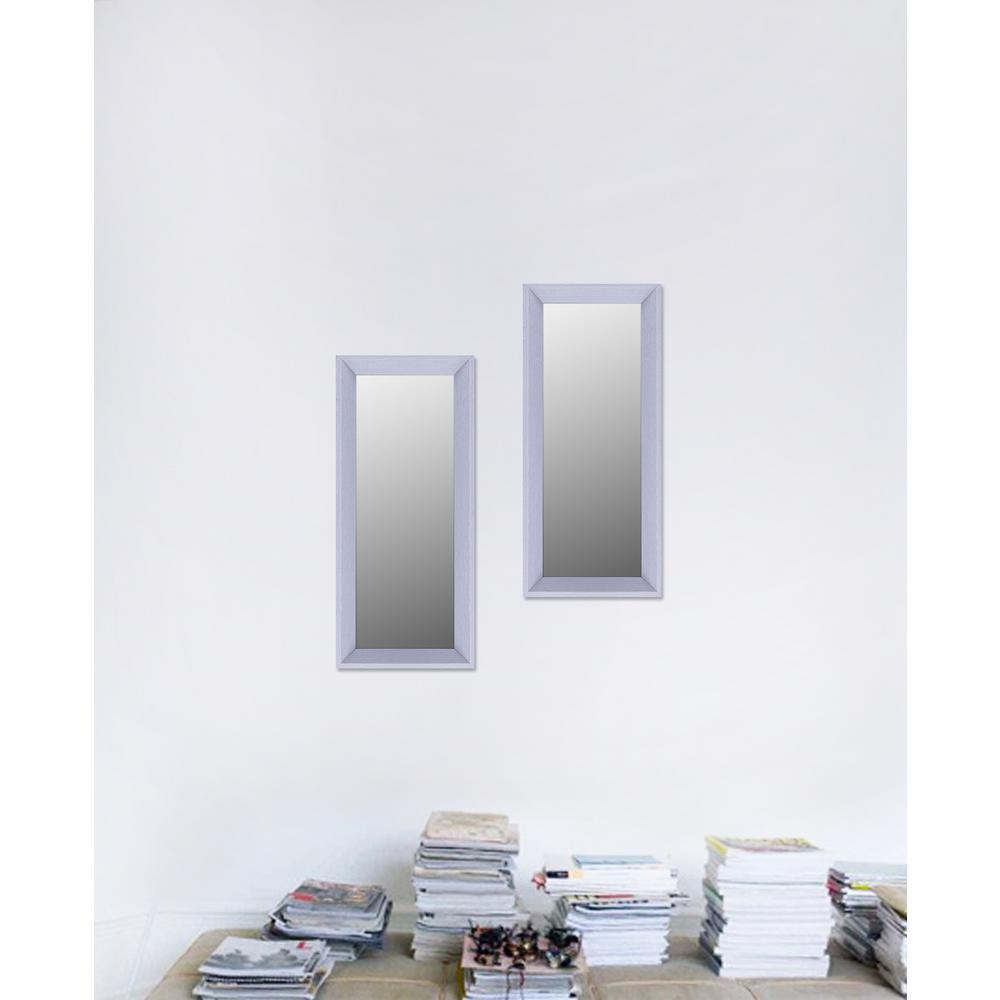 9.5 in. x 21.5 in. Light Grey Plain Mirror (Set of 2)