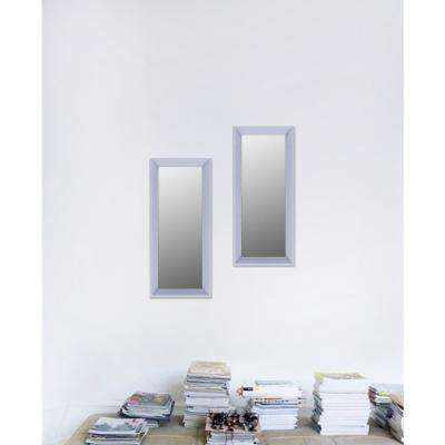 9.5 in. x 21.5 in. Light Grey Plain Mirror (Set of 2)
