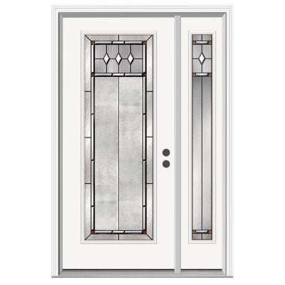 50 in. x 80 in. Full Lite Mission Prairie Primed Steel Prehung Left-Hand Inswing Front Door with Right-Hand Sidelite