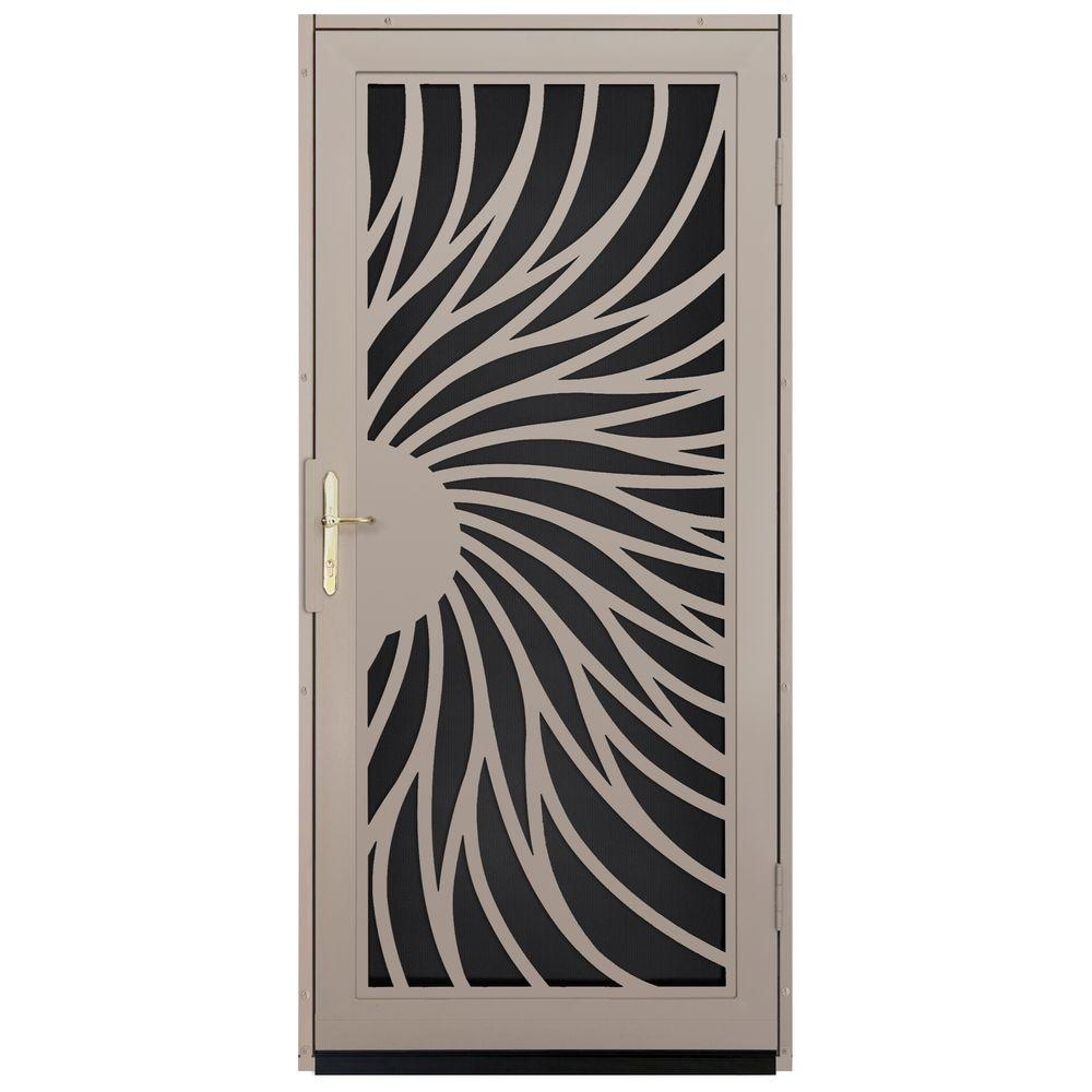 Unique Home Designs 36 in. x 80 in. Solstice Tan Surface Mount Steel Security Door with Black Perforated Screen and Brass Hardware