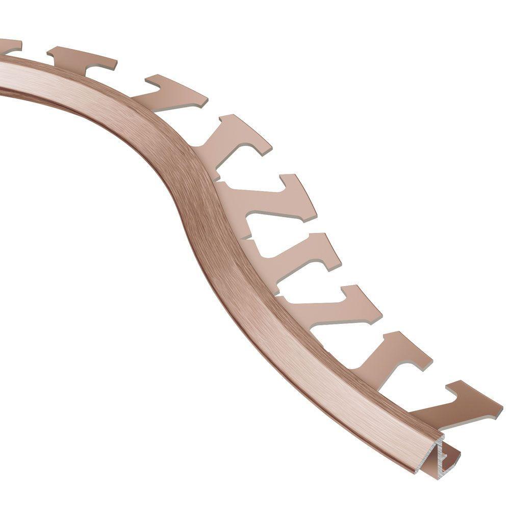 Schluter Reno-TK Brushed Copper Anodized Aluminum 5/16 in. x 8 ft. 2-1/2 in. Metal Radius Reducer Tile Edging Trim