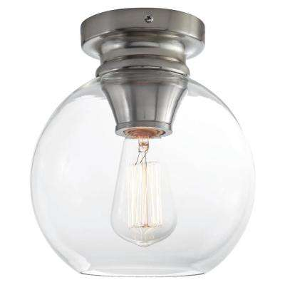 Evelyn 8 in. 1-Light Brushed Nickel Flush Mount Light with Clear Glass Shade