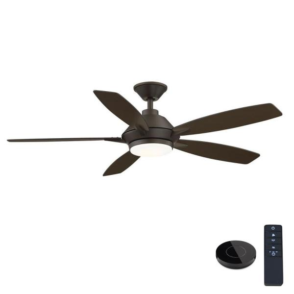 Wilmington 52 in. LED Espresso Bronze Ceiling Fan with Light and Remote Control works with Google and Alexa