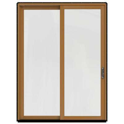 72 in. x 96 in. W-2500 Contemporary Bronze Clad Wood Right-Hand Full Lite Sliding Patio Door w/Stained Interior