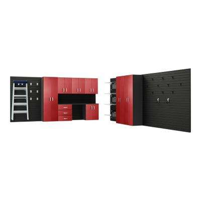 Modular Wall Mounted Garage Cabinet Storage Set with Workstation and Accessories in Black/Red Carbon Fiber (35-Piece)