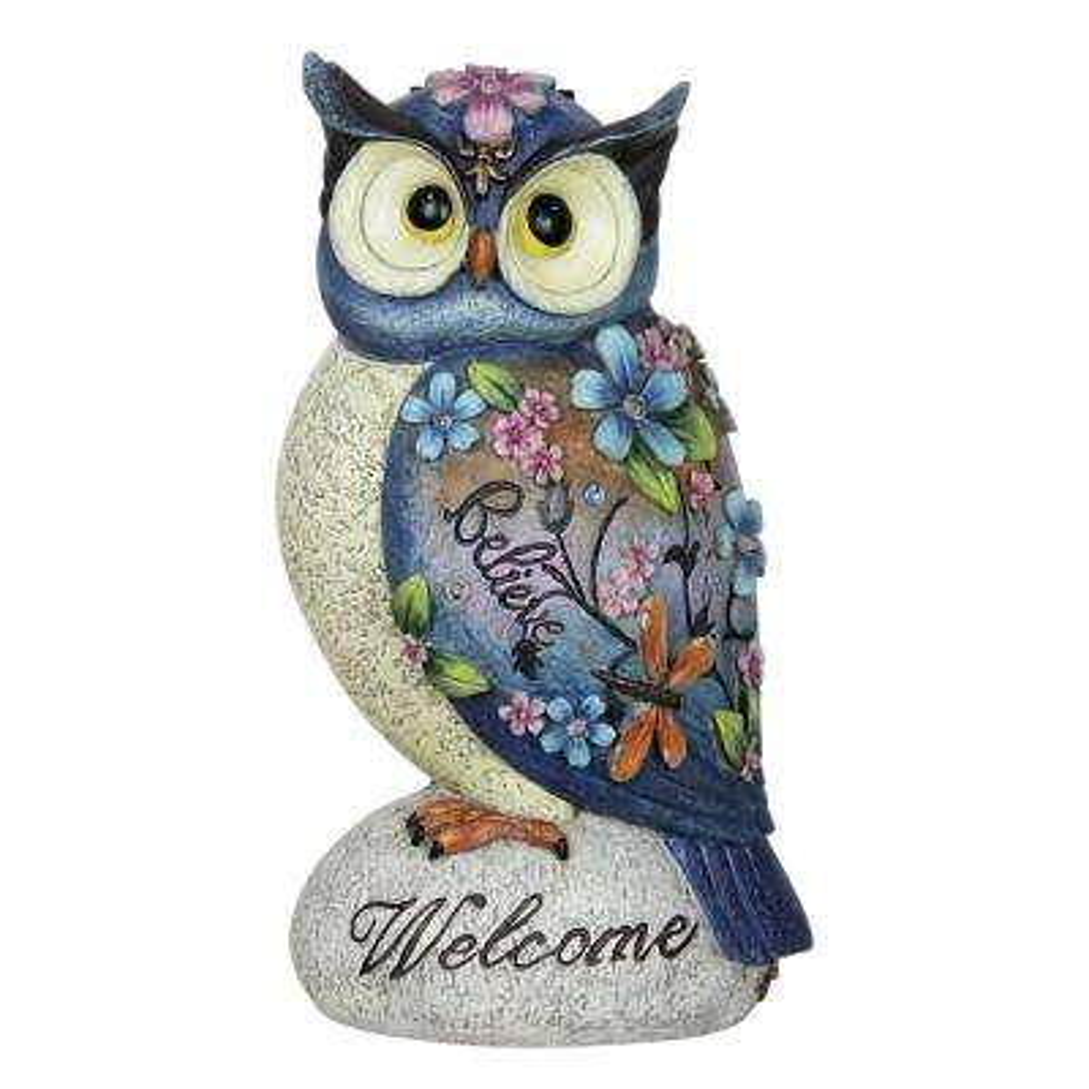 Solar Inspirational Owl Statue