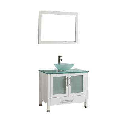 Cuba 36 in. W x 20.5 in. D x 36 in. H Vanity in White with Glass Vanity Top in Aqua with Green Basin and Mirror