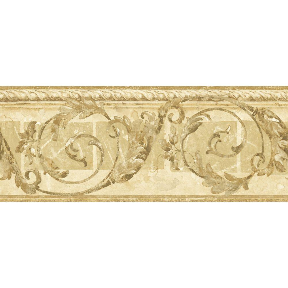 The Wallpaper Company 8.25 in. x 15 ft. Beige Traditional Scroll Border