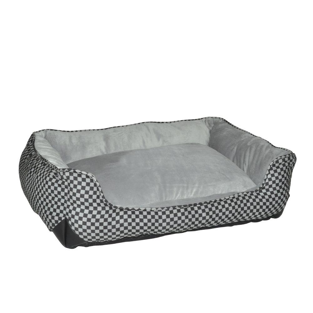 Lounge Sleeper Large Black Square Self Warming Dog Bed