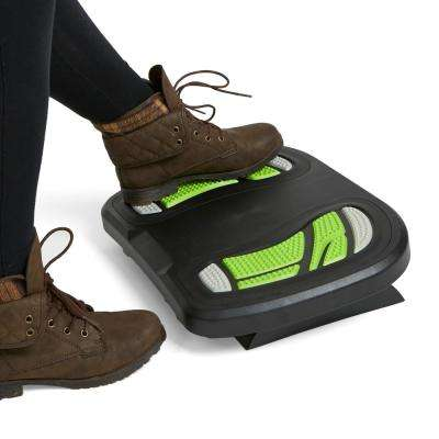Black and Green Plastic Adjustable Height Non-Slip Ergonomic Foot Rest