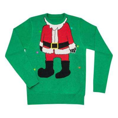 Christmas Sweater in Green with Santa Image with LED Lights
