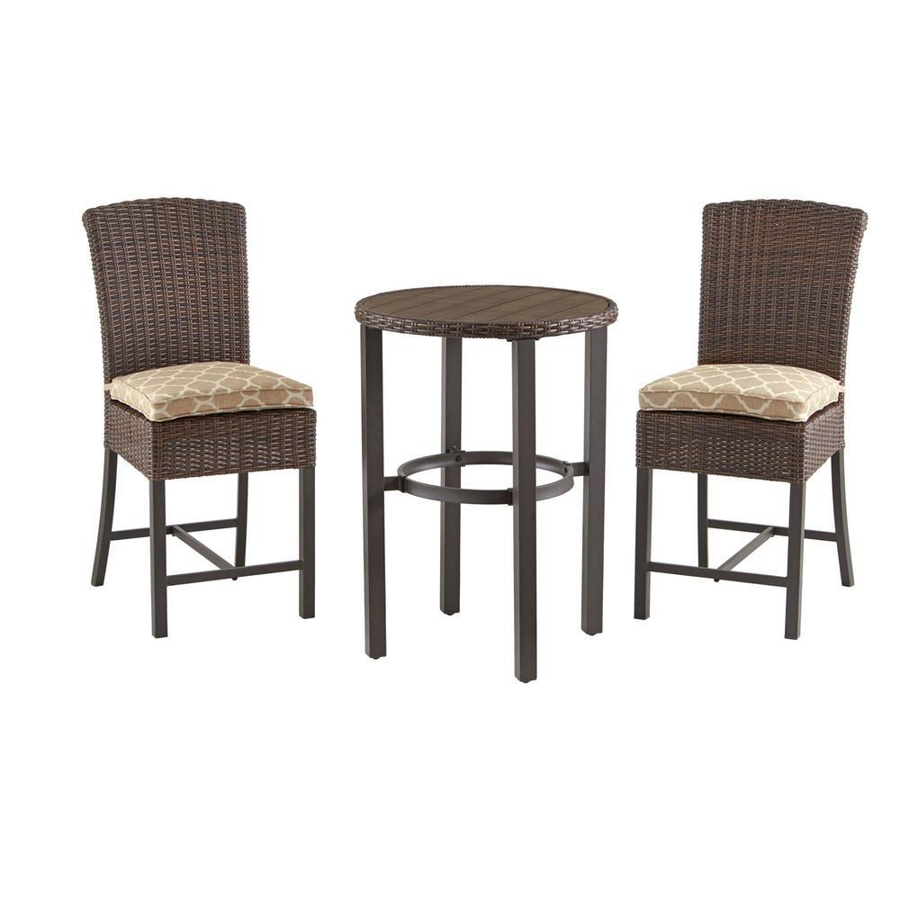 Harper Creek 3-Piece Brown Steel Outdoor Patio Bar Height Dining Set with CushionGuard Toffee Trellis Tan Cushions
