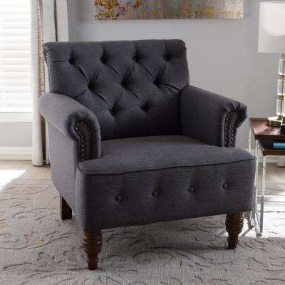 Christa Dark Gray Fabric Upholstered Accent Chair
