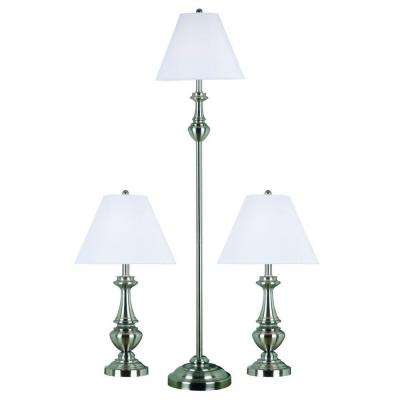 New Hope 26 in. Brushed Steel 2 Table and 1 Floor Lamp Set