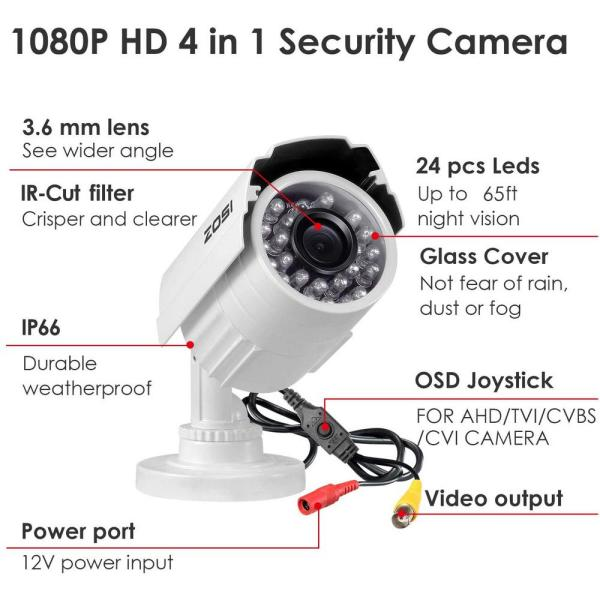 Zosi Wired 1080p Outdoor Bullet Security Camera White 4 In 1 Compatible For Tvi Cvi Ahd Cvbs Dvr 4 Pack 4ak 2112t W Us The Home Depot