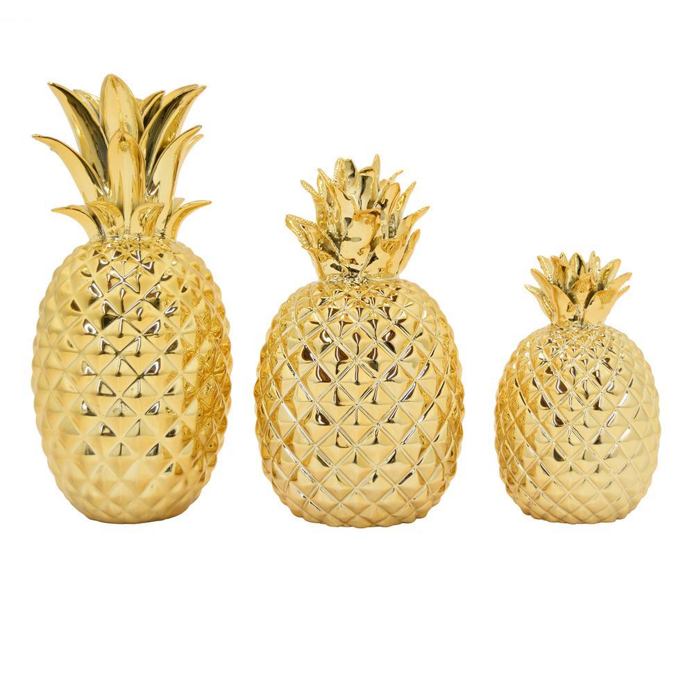 9 in. Ceramic Pineapple Tabletop (Set of 3)