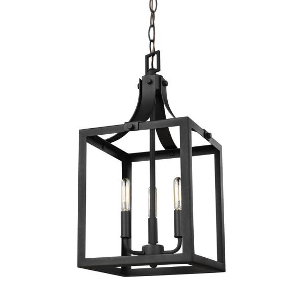 Labette 3-Light Black Hall-Foyer Pendant with Dimmable Candelabra LED Bulb