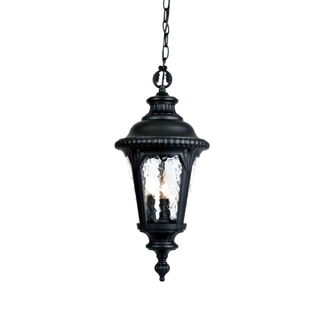 Surrey Collection Hanging Outdoor 3-Light Matte Black Light Fixture