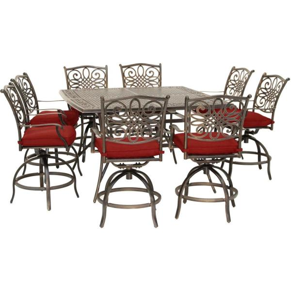 Traditions 9-Piece Aluminum Outdoor Dining Set with Red Cushions, 8-Swivel Chairs and a 60 in. Square Cast-Top Table