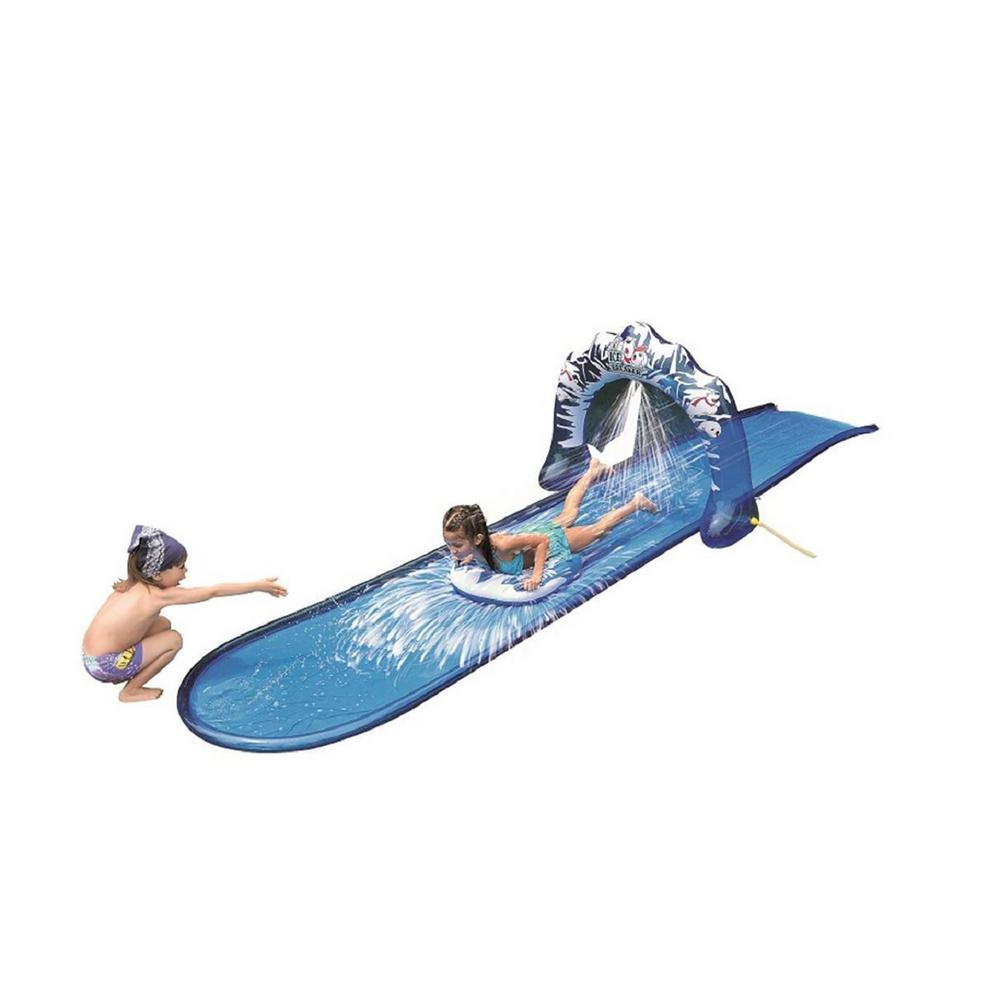 Pool Central Blue and White Ice Breaker Inflatable Ground Level Water Slide